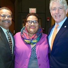 At the Newport News Sheriff's Office Promotion Ceremony at the Downing Gross Cultural Arts Center. Marcia is pictured with Mayor McKinley Price and Attorney General Mark Herring.